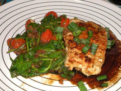 Spiced Pork Chops with Sweet and Sour Glaze and Spinach and Tomatoes