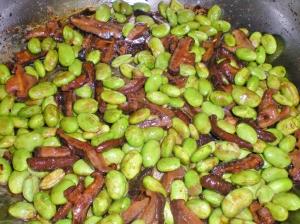 shiitake mushrooms and edamame beans